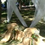 decoración del jardín para la ceremonia de boda